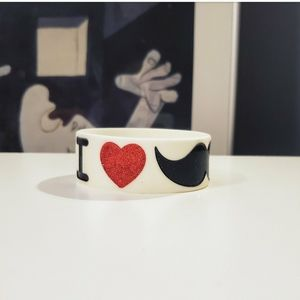 Heart Glitter Moustache Rubber Circle Bracelet